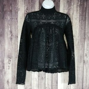 Free People Beach black knit high neck blouse